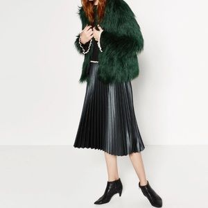 Zara Green Pleated Accordion Metallic Midi Skirt